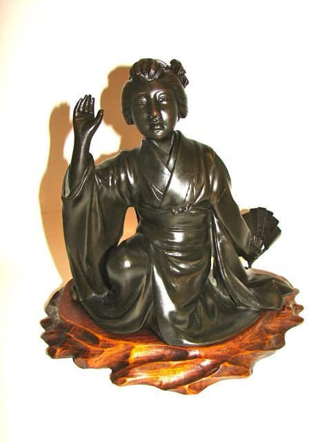 Japanese Bronze, Seated Geisha.