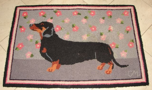 Custom Hooked mat of a Dachshund.