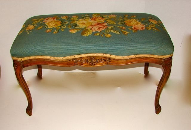 Louis IV Style Carved and Needlepoint Bench.