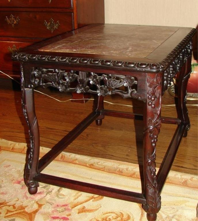 Pair (2) of Chinese Carved Rosewood End Tables.