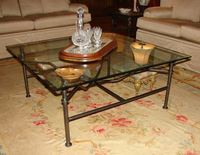 Bronze  Glass Top Cocktail Table. 20th C.