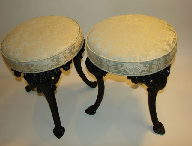Pair (2) of Cast Iron Low Stools.