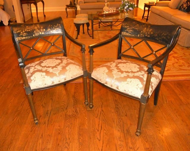 Pair (2) of Interior Crafts Sheraton Style Chairs.