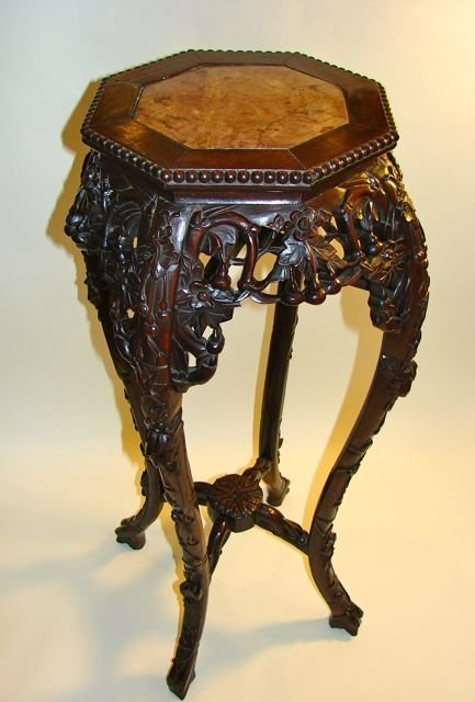 Chinese Carved Rosewood Stand.