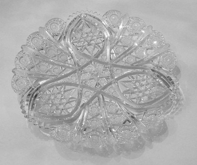 American Brilliant  Cut Glass Plate. C. 1900.