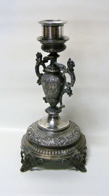 "Continental Silver Candle Holder, ""Wollenweber""."