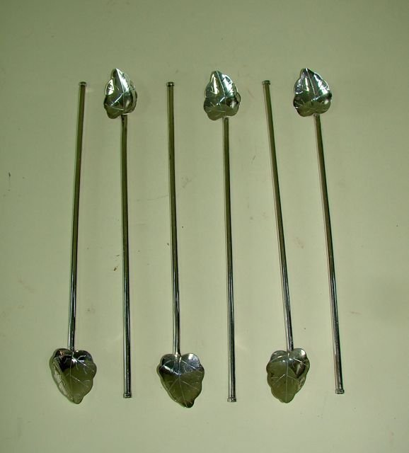 Set of Six Sterling Spoon Straws. Mexican.