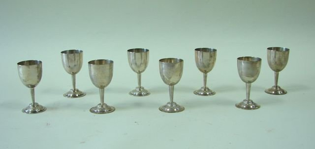 Set of Eight (8) Mexican Sterling Cordial Glasses.