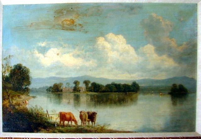 Oil Painting, Cows Watering British School 19th C.