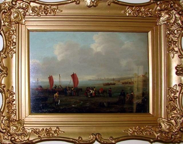 Oil Painting on Board, European Shore Scene.