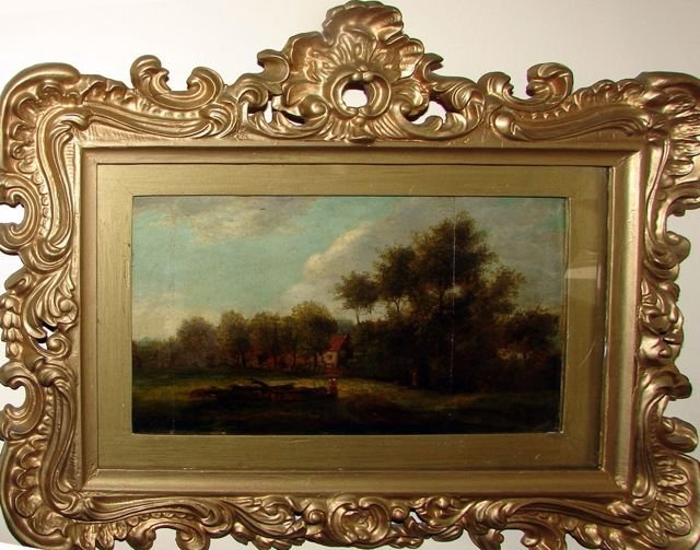 Oil on Board, English Landscape with Cottage.