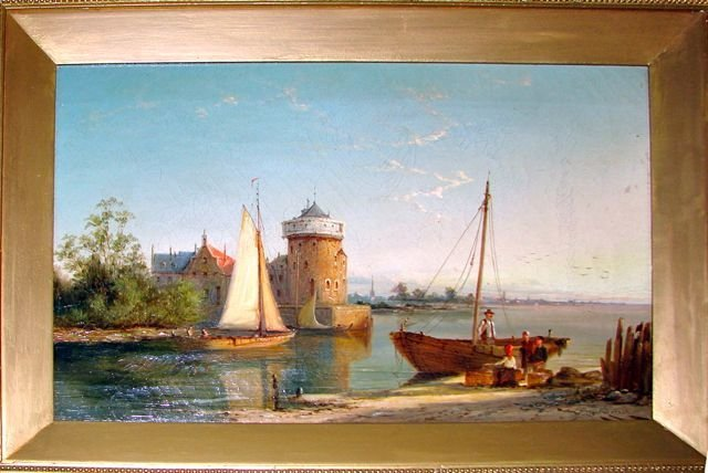 Oil Painting, English Costal View. British School.