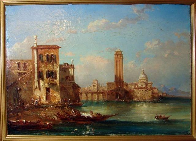 Oil Painting, Venetian Grand Canal Scene.