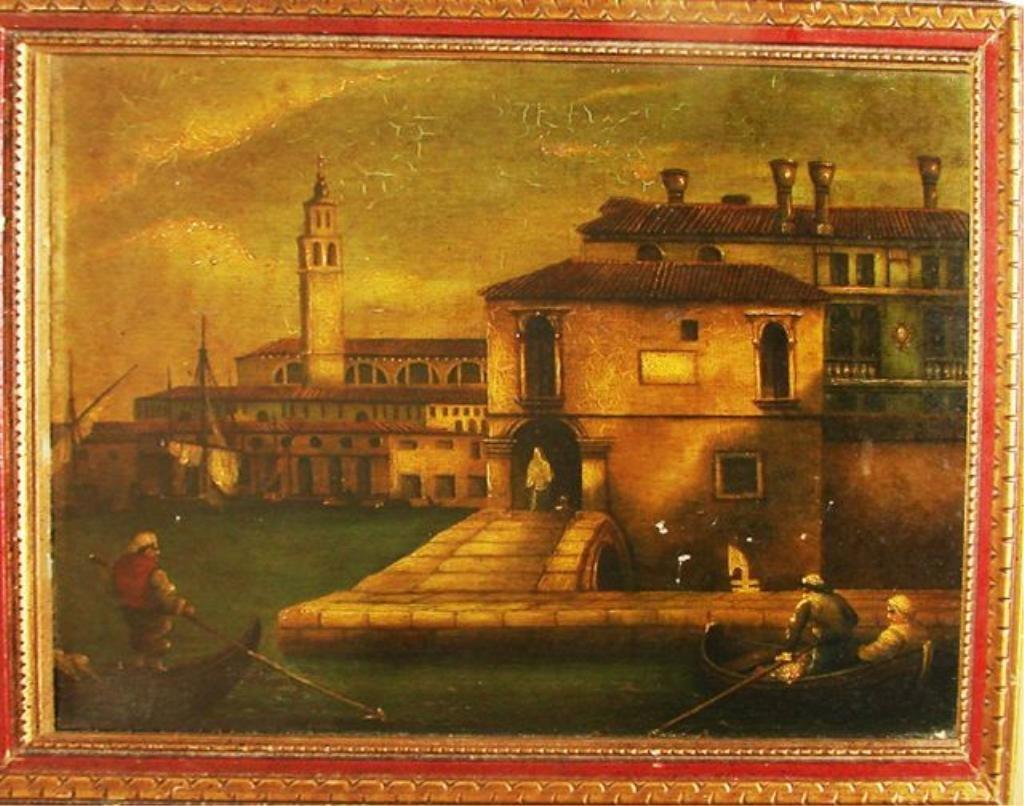 Oil on Board, Venetian Canal Scene.
