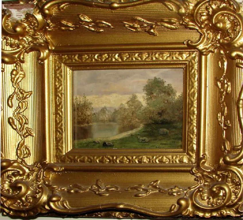 Oil Painting on Panel, Bucolic landscape w/ Sheep.