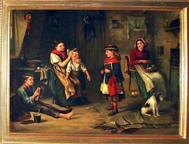 Oil Painting, Interior Genre Scene. 19th C.