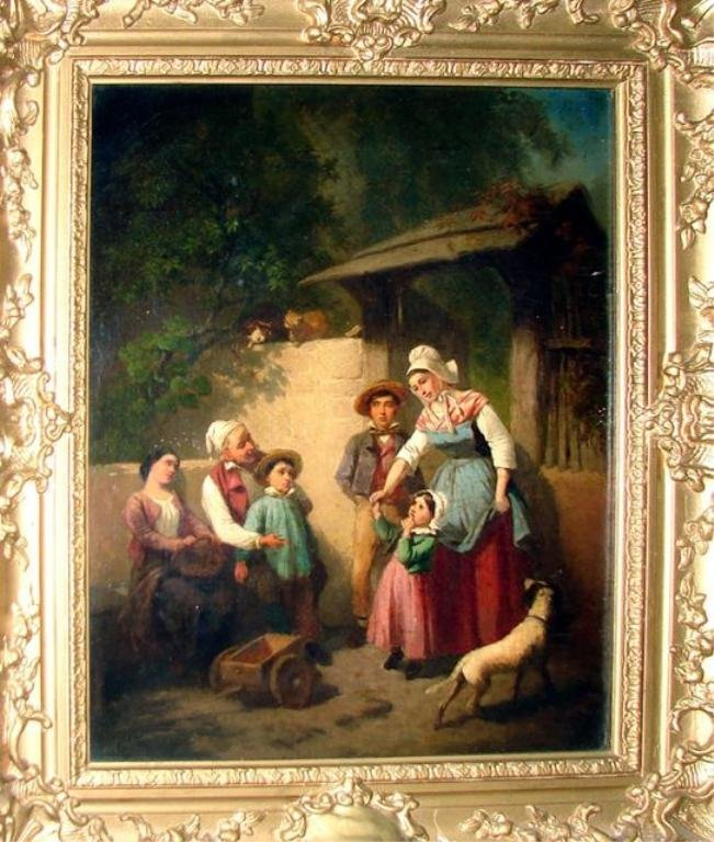 Oil Painting, Exterior Genre Scene, 19th C.