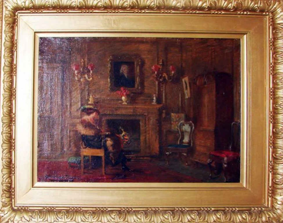 Oil Painting, Interior Scene. A. Thomas Taylor.