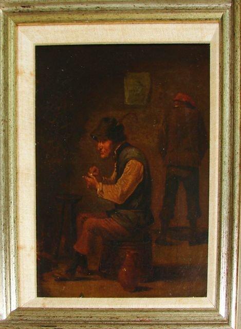 Oil on Canvas, Interior Tavern Scene. 18th C.