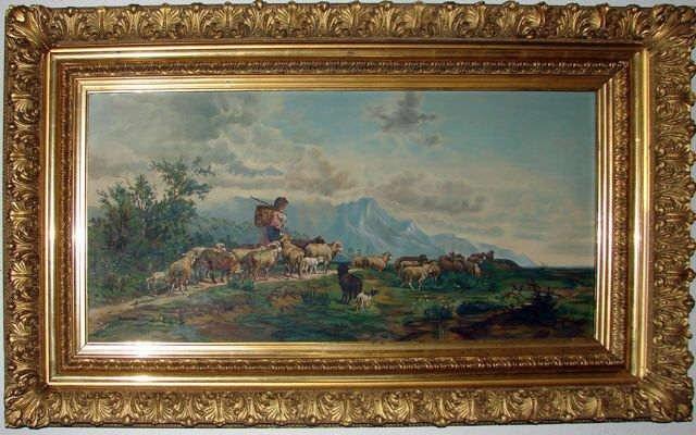 "Oil Painting, Alpine Scene, Initialed ""SEB, 1894""."