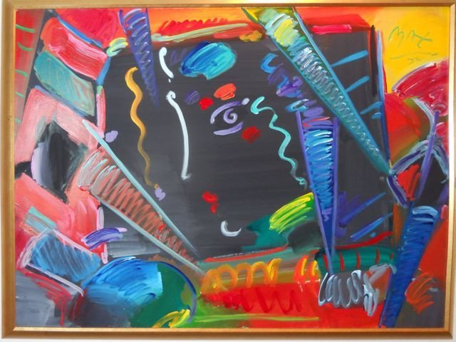"""Painting, """"Midnight at the Bijoux"""", Peter Max. 1988"""