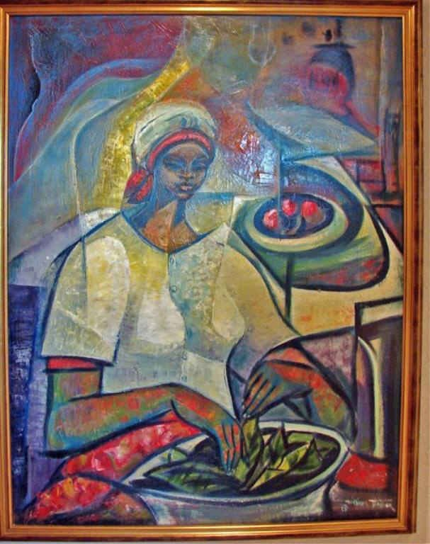 """Oil Painting, """"Girl With Peas"""", Philip Tolliver."""