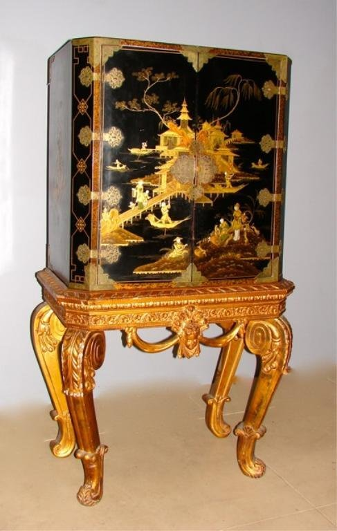 Georgian Style Chinoiserie Cabinet on Stand.