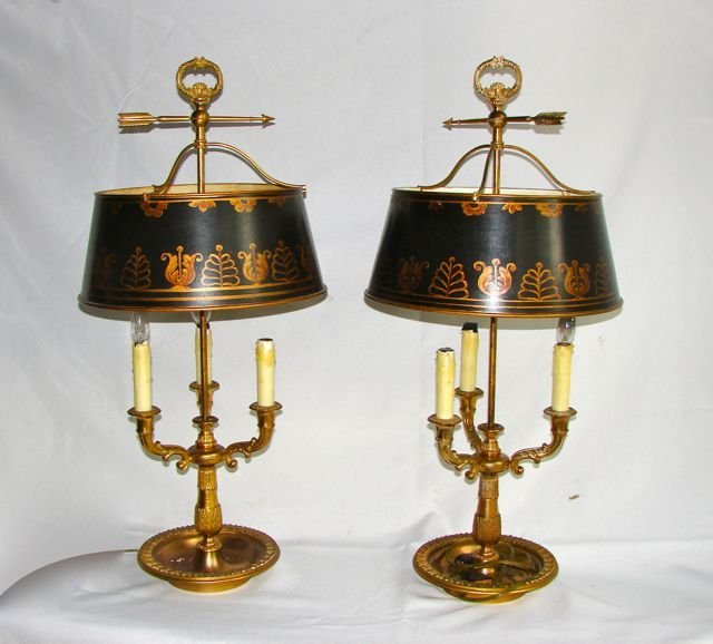 Pair (2) French Style Three Arm Bouliotte Lamps.