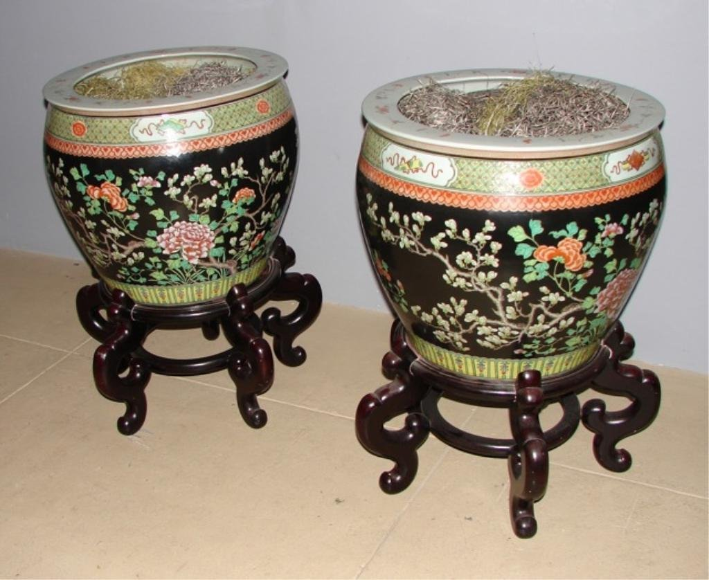 Pair (2) Chinese Porcelain Fish Bowl Planters.