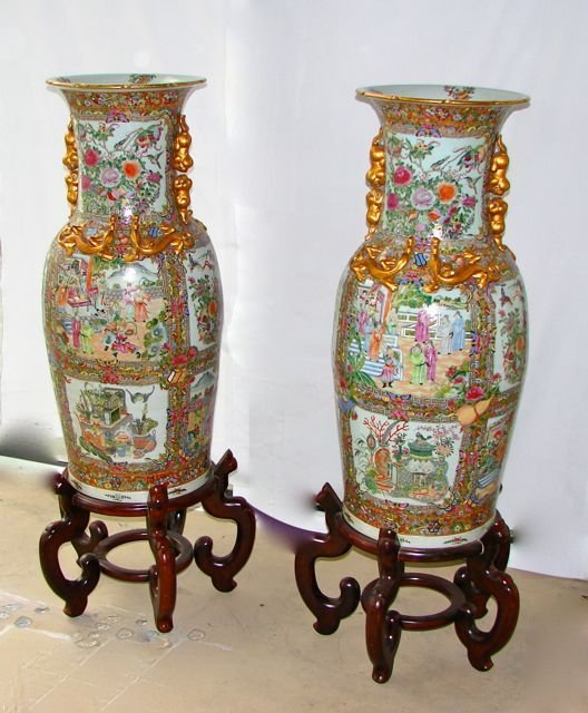 Pair 19th C. Chinese Rose Medallion Palace Vases.