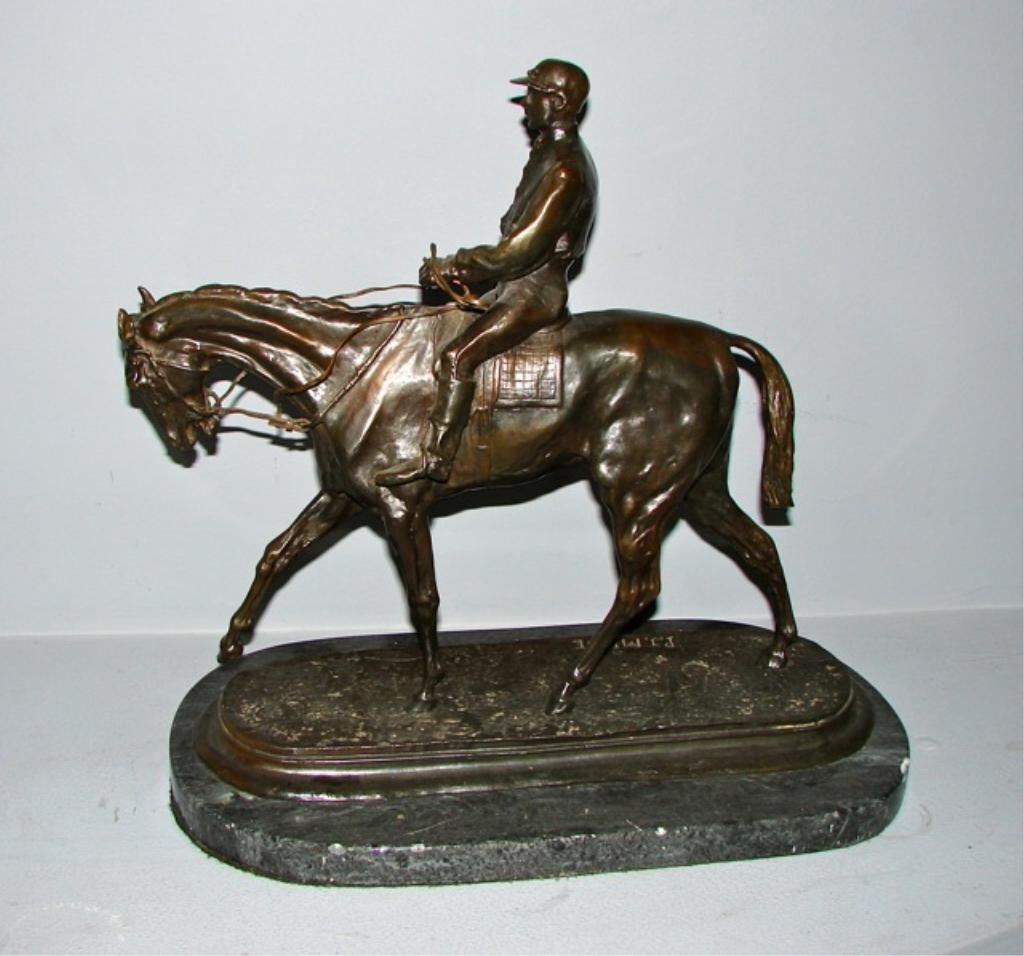Bronze Statue of a Jockey After P.J. Mene.