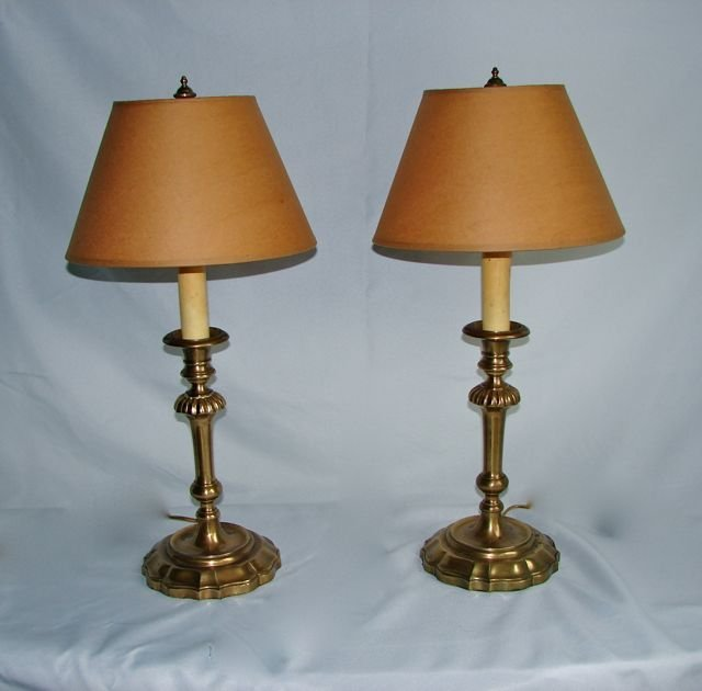 Pair (2) Brass Candle Stick Table Lamps.
