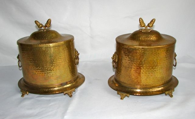 Pair (2) Brass Tea Caddys. 20th C.