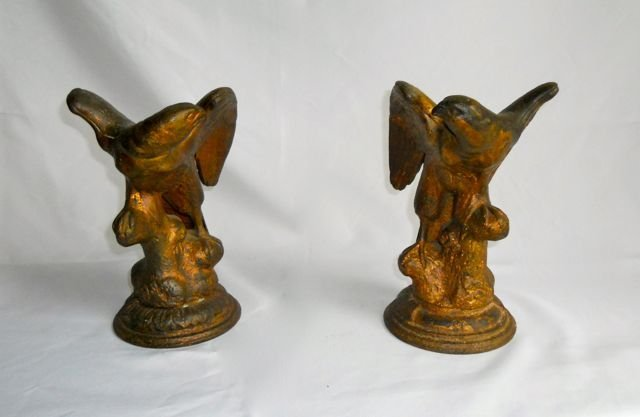 Pair (2) Antique Cast Bronze Eagle Figures.
