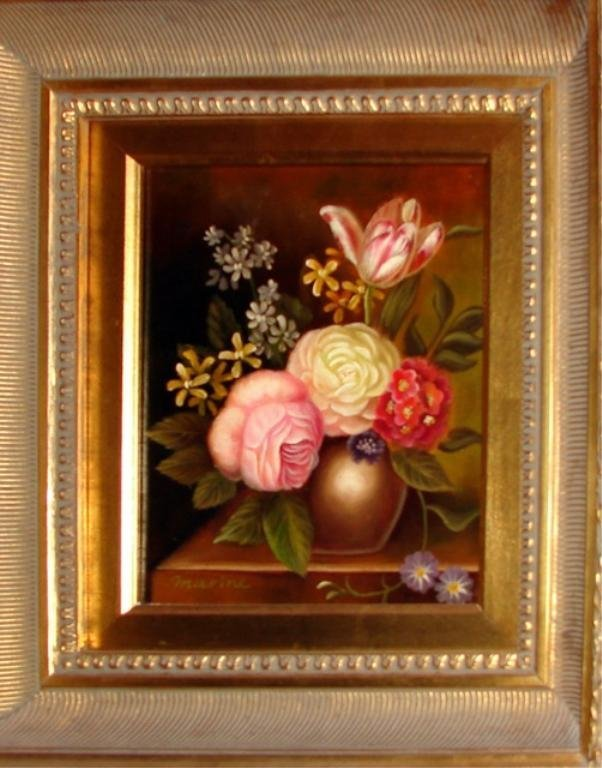 Pair (2) Floral Still Life in Gilt Frames.