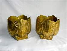 Pair 2 Brass Shell Form Planters