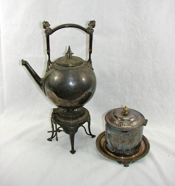 Plated Water Kettle w/Stand and Bisquit Caddy.