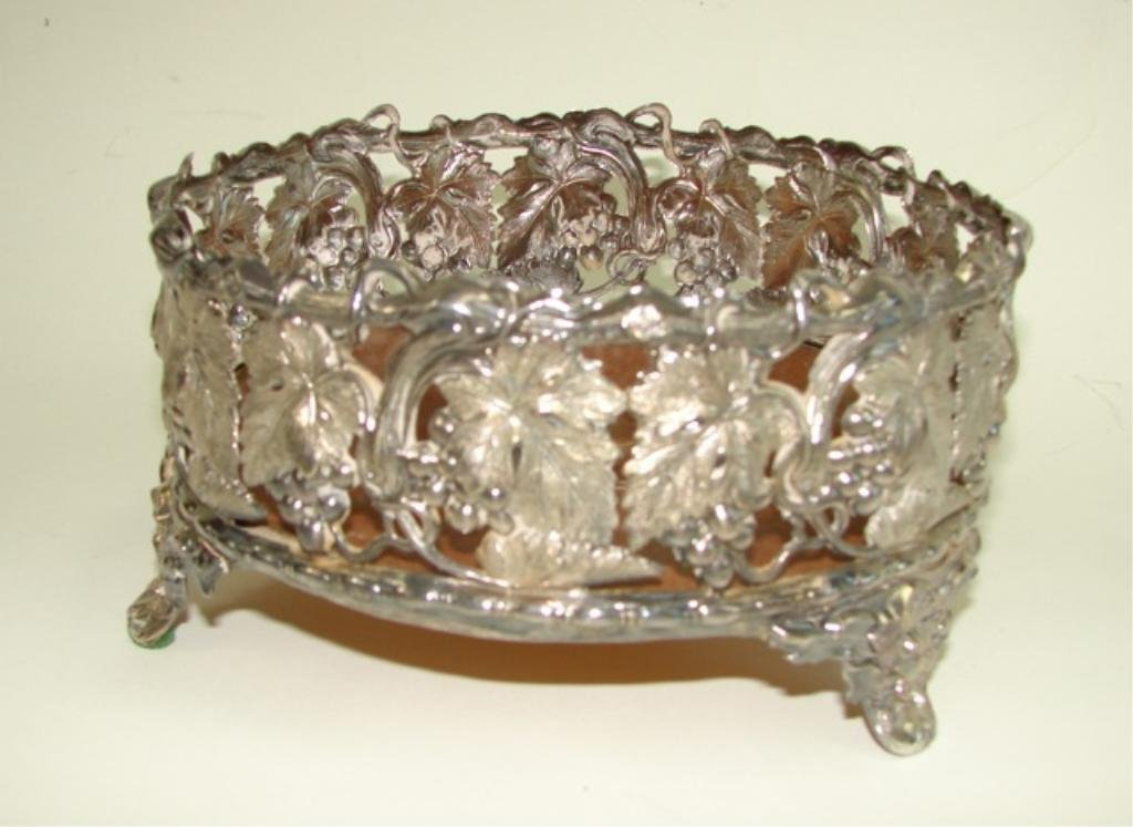 Antique Silver Plated Wine Coaster.