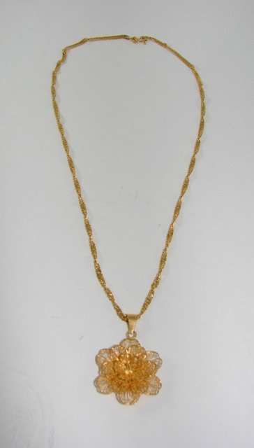 21K Yellow Gold Filigree Pendant and Chain.