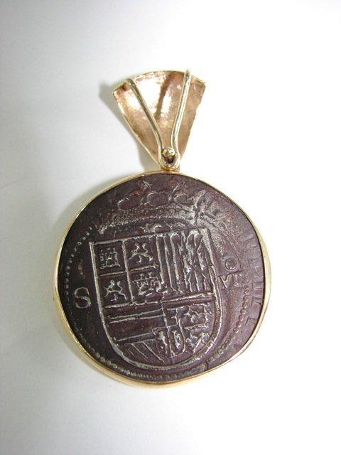 Antique Coin Pendant.  Gold Bale.