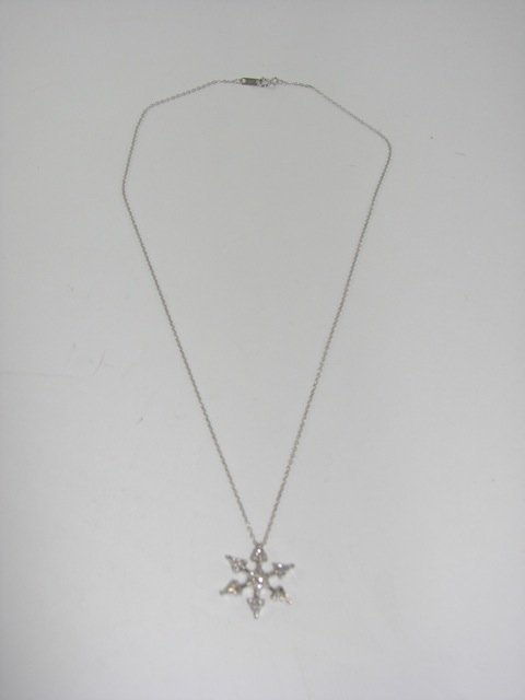 14K White Gold Snowflake Pendant and Chain.