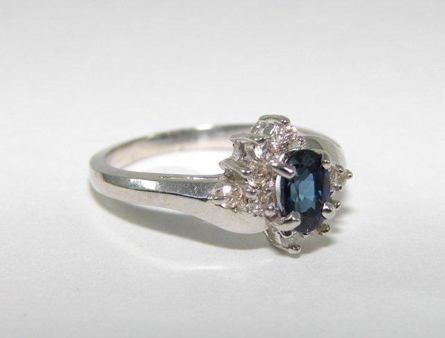 14K White Gold Sapphire Ladies Ring.