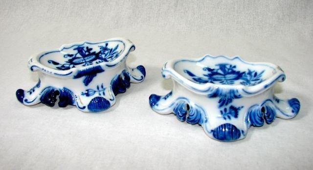 Pair (2) Meissen Open Double Salts.