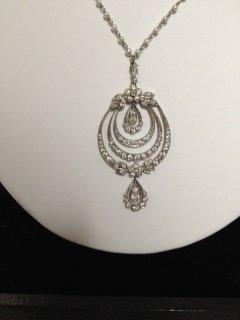 Victorian Platinum Diamond Pearl Necklace.