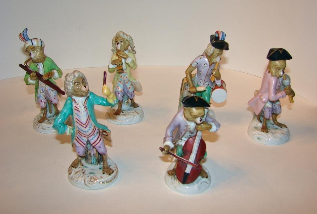 Six (6)  German Dresden Porcelain Monkey Band.