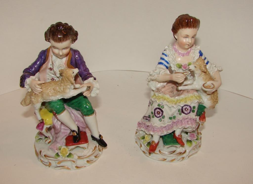 Pair (2) of Sitzendorf Porcelain Figurines. 19th C.