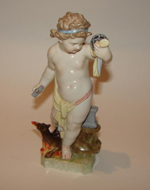 Early Meissen Figurine, 18th C. Child with Puzzle.