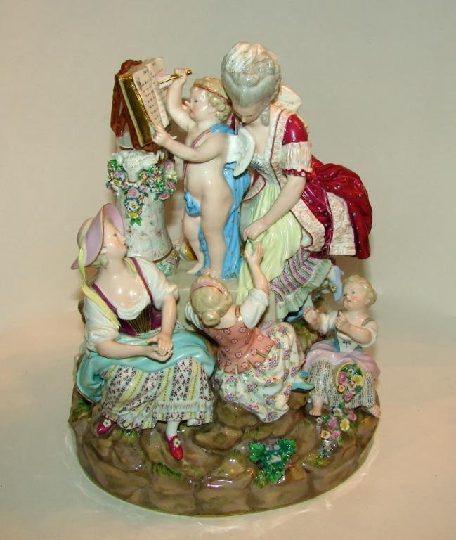 """Meissen Porcelain Figural Group. """"Lessons in Love""""."""