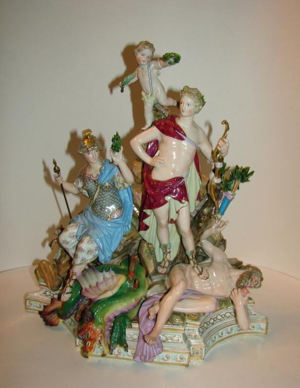 Meissen Porcelain Allegorical Apollo and Minerva.