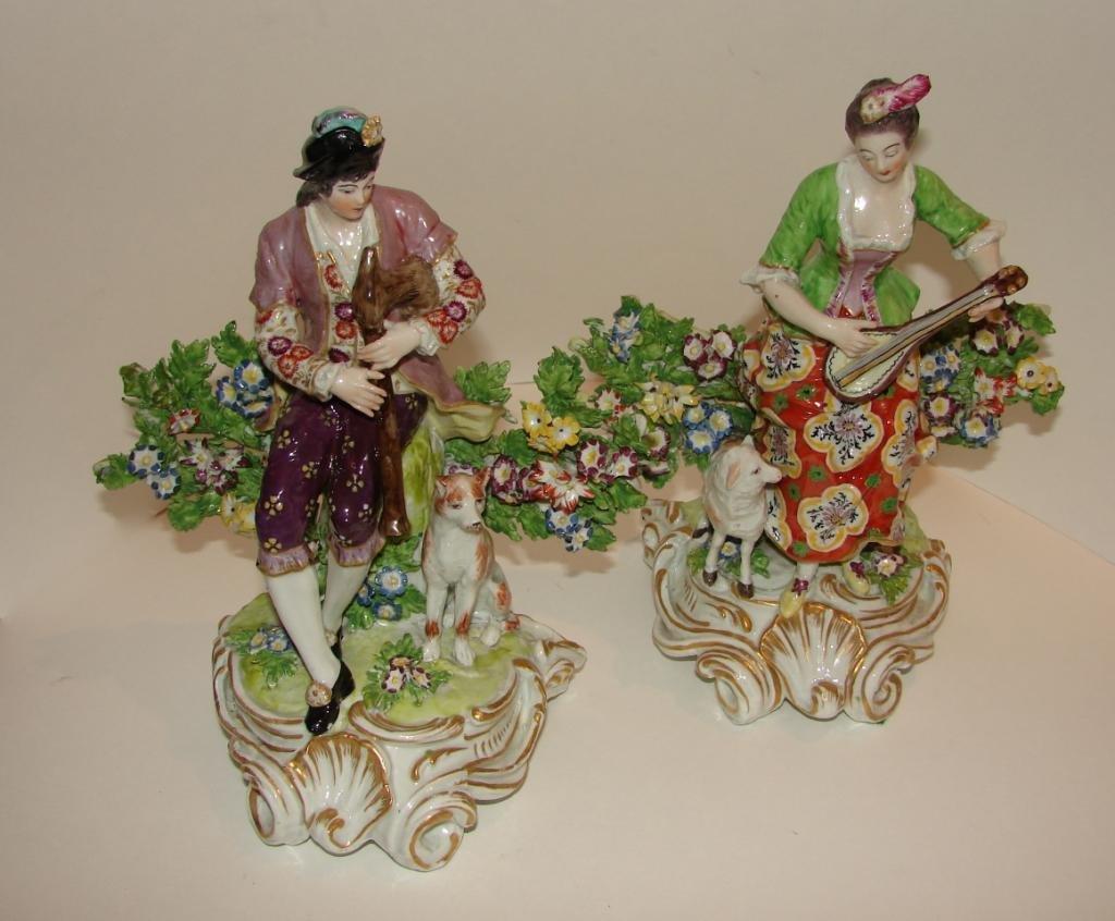 Pair (2) of Chelsea Porcelain Figurines.